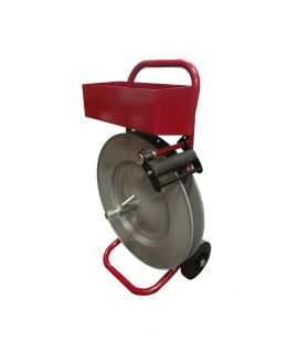 Steel strapping dispenser with metal tool tray