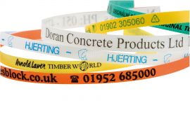 Bespoke custom made strapping made to your specified sizing, colour and with your printed company branding.