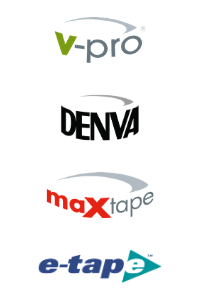 tape brand logos at Kwikpac: v-pro, maxtape, denva, and e-tape