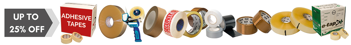 Up to 25% off sale on adhesive packing tapes and dispensers
