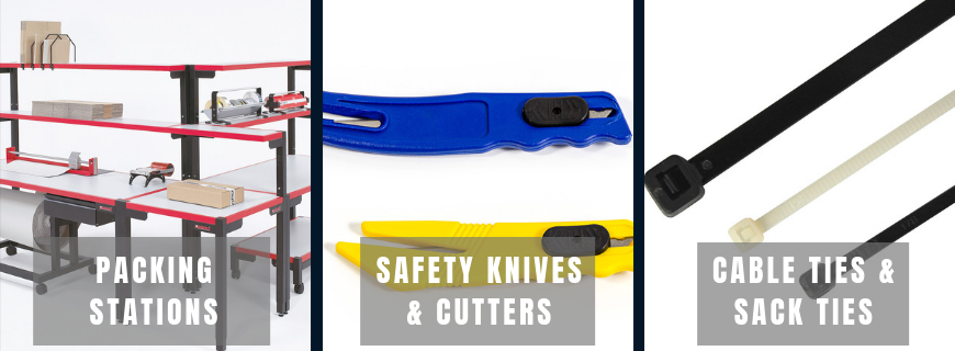 packing stations, safety knives and cutters and cable ties