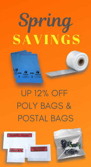 discounts on polythene bags and mailing bags in April 2019