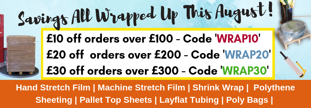 Pallet Wrapping Offer - stretch and shrink wrap savings August 2019