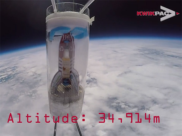 Kwikpac whisky and packaging in space