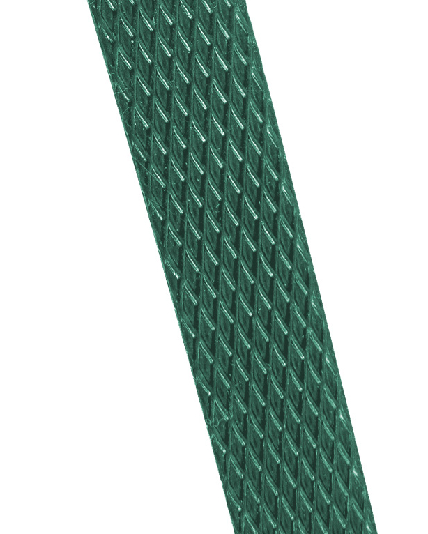 Tornado embossed polyester strapping