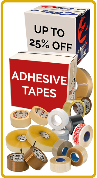 Up to 25% discount on adhesive packing tapes and dispensers